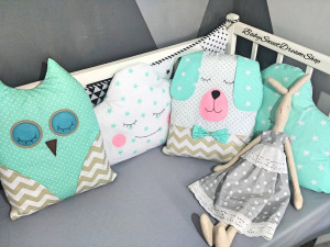 """Set of 4 throw pillows 2 a cloud the size are 60 x 40 cm (23.6 x 15.7"""") and 2 pillows Hare and Owl size: 35 x 40 cm (13.7 x 15.7"""")"""