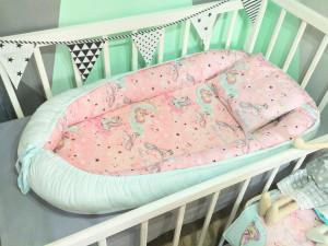 pink baby nest bed - magic unicorn