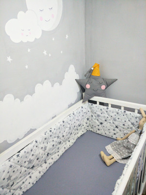 crib bumper grey stars organic crib bumper