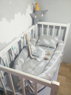 baby nest bed with two demountable covers gray colors with feather pattern