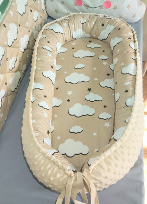 minky baby nest - clouds & stars