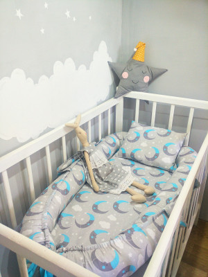 gray baby nest boy with pillow