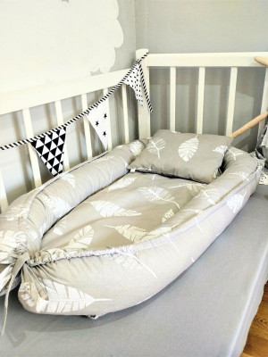gray cotton baby nest bed - feathers