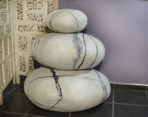Felted wool stone , set of three pillows  . Pebble pillows , pillows , felted wool stone pillows, Big soft stone. wool stone