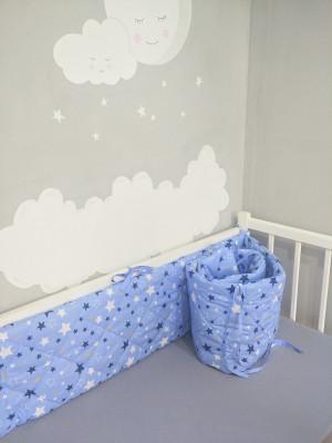crib bumper boy blue double - sided cradle  bumper