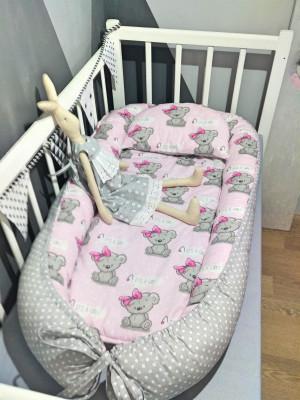 pink organic baby nest bed - bears print