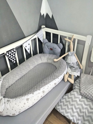 gray baby nest - blanket - bed sides