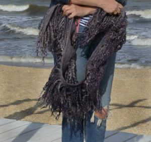 Felted Fur Collar Long Locks Felted wool OOAK  . ECO animal friendly , fur  scarf