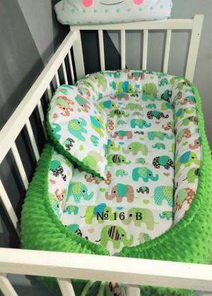 green minky baby nest - Elephant print