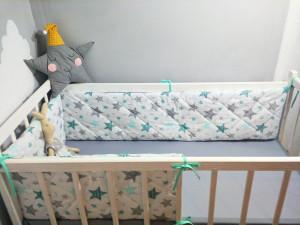 white mini crib bumper - star crib bumper set