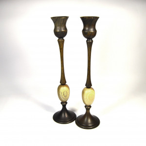 Handmade Handturned Wood Candlestick Set - Mid Century Inspired Candle Holders - Custom Made - DInner Candle Holders