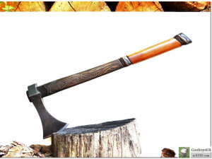 """Forest Axe in Viking style """"Long Stinger""""- bushcraft and tourist camp tool. Your reliable friend in the Life's Journey. Good men's gift."""