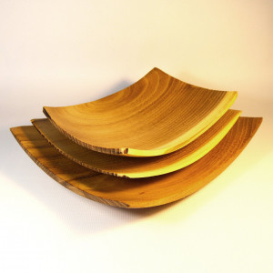 Handmade Square Decorative Trays - Handturned Wooden Food Cheese Platters - Custom Made Salad Bowls