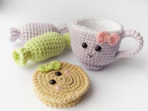 Set desserts - Crochet candies 2 pc, cookies, cup girl ,nursery decor,baby shower gift ,crochet dessert, Birthday gift ,girl  gift, baby tys