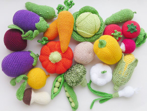 Set crochet vegetable  17 PCs of play food decor for children's rooms to pretend to be eco-friendly toys eggplant carrot tomato