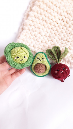 Happy vegies,Rattle toys,amigurumi soft toy,baby decor, kids gift, play Food Set, baby gym toy,Pretend play,toddler toys, kawaii vegetable