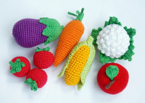 Christmas gift ,Crochet vegetables -crocheted fruits -Toy Kitchen -the Waldorf Toys -holiday gifts -Montessori materials - eggplant, carrot