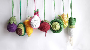 Crochet vegetables and fruits, Play Gym, Stroller toy, Crochet toy, baby gym toys, Baby Activity Gym,Baby Mobile,Baby Shower Gift ,Crib Toy