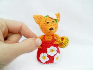 Crochet fox Toy Miniature Animal Figurine, tiny amigurumi fox, Sweet Lovey Knit Doll Fairies Accessories of Nursery Decor Dollhouse