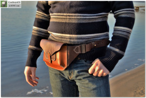 Designed Italian Leather Mens Waist Bag with unique self made Bronze Buckles-  Waist Sling Crossbody Bag Pouch. Shipping in price. Mens gift