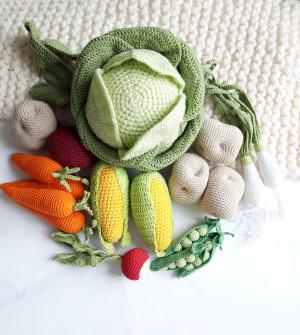 Crochet vegies, amigurumi soft toy,baby decor, kids gift, play Food Set,Pretend play, toddler toys, pretend play food, kitchen decor