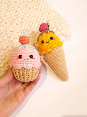 Cream and cake kawaii, crochet Toy, Play Food, Teething Toy, pastel collor toy, nursery decor, Kids Toys,Toy ice cream  ,Baby shower gift