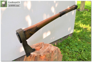 """Viking axe """"Personal Assistant""""-  tooth - axe, hatchet, tomohawk. Viking, crusider multifunctional axe with forged axehead. Carved handle."""