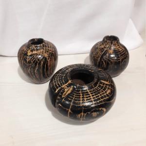 Handmade Handturned Wood Vase Set - Dry Flower Pot From Black Oak - Custom Made