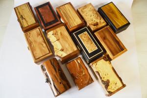 5 Handmade Rectangular Wood Jewelry Boxes - Ash Urn/Box - Keepsake - BULK ORDER OPPORTUNITY - Live Natural Edge - Turned Wood - Handcrafted