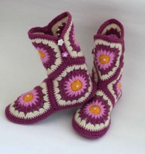 Socks: Hand knit socks,slipper/Women Shoes /knitted slippers socks/ purple knit socks/Knitted Wool Socks/knitted socks/warm socks/