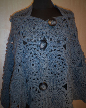 """Poncho knitted female """"medallions"""" (knitted poncho) ponchoyu hand-knitted, knitted sweaters women"""