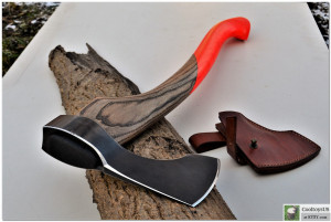 "Professional forged Bushcraft Axe ""Attractive""- Custom axe with bright painted handle to be visible. Luxury gift axe."