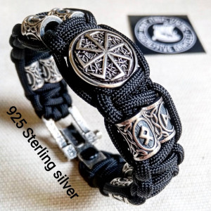 Black Viking protective amulet. Luxury gift for biker. Runic paracord bracelet.925 Sterling silver runes. Viking jewelry.
