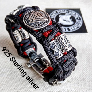 Luxury gift for biker. Runic paracord bracelet.925 Sterling silver runes. Viking jewelry.
