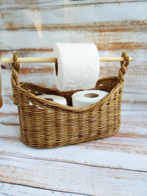 Wicker toilet paper holder for bathroom decor in rustic style, Toilet paper storage basket, Spare roll holder, Paper towel holder standing
