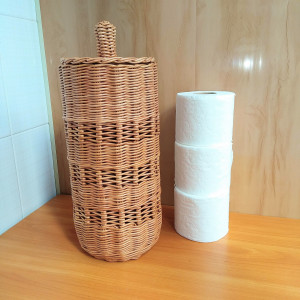 Wicker round toilet paper storage basket with lid for farmhouse style bathroom, Country bathroom decor, Spare roll holder toilet paper