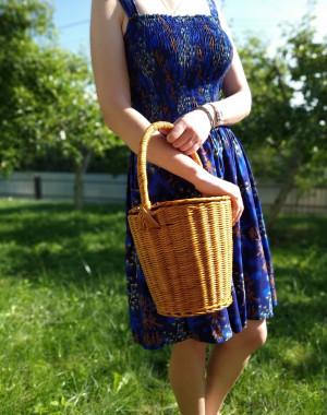 Jane Birkin basket French basket handbag Wicker summer bag Wicker bucket bag rieten tas Round basket with lid Handwoven basket 70s wickerbag