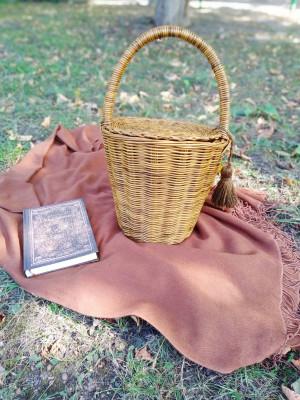 Straw bucket bag, Jane Birkin basket bag, Boho basket bag in vintage style, French basket handbag, Wicker bucket bag