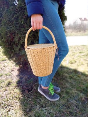 Jane Birkin basket bag French woven basket Straw bucket bag Round basket with lid New mom gift basket Handwoven basket 70s