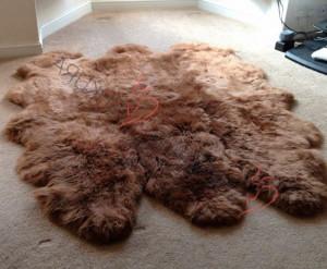 "Brown Genuine sheepskin rug 83"" x 67""  Natural Throw Beige Very thick short fur rug Genuine leather Pelt Sheep skin decorative rug"