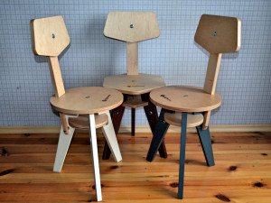 Folding chair, plywood chair in industrial style, farmhouse chair.