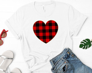 Valentine Shirt - Buffalo Plaid Heart Shirt - Valentine's Day Shirt - Cute Valentine's Shirt - Heart Shirt