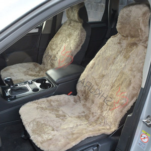 Beige Car seat cover merino sheepskin 2 pcs Car accessory for men Fur Seat cover for women Front seat cover for car Gift for her