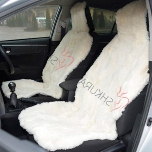 White Car seat cover sheepskin short thick fur 2 pcs Car accessory for men Fur Seat cover for women Front seat cover for car Gift for her