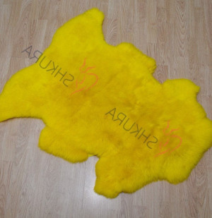 "Yellow Genuine sheepskin rug short fur 43"" x 30""  Christmas gift Natural Throw Very thick rug Genuine leather Pelt Sheep skin decorative rug"