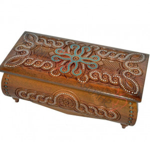 Carved jewelry box with beads Wooden big engraved Jewelry box plans Walnut crate Wood chest jewelry Wedding gift for her