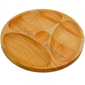 Handmade wooden plate Serving dish with dividers Large wooden serving dish Hand carved Wood kitchen plate Wood snack plate 4 sections