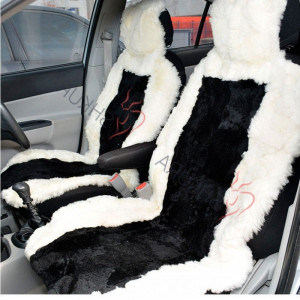Black white sheepskin car seat cover 2 pcs Car accessory for men Fur Seat cover for women Merino Front seat cover for car Gift for him