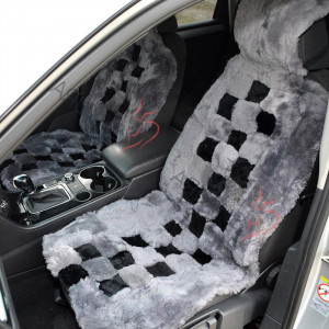 Gray Fur Seat cover for car 2 pcs Car accessory for men Sheepskin car seat cover for women Merino Front seat cover for car Gift for him