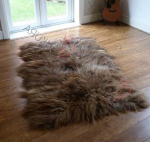 "Brown Pelt Sheepskin decorative rug Genuine Icelandic sheepskin rug 83"" x 43"" Beige Natural Throw Very thick long fur rug Genuine leather"